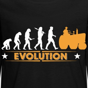 Farmer tractor evolution - orange/white Long Sleeve Shirts - Teenagers' Premium Longsleeve Shirt