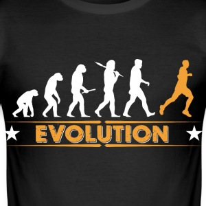 Running Evolution - orange/weiss T-Shirts - Männer Slim Fit T-Shirt