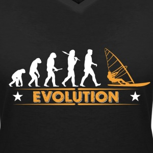 Vindsurfing evolution - orange/vit T-shirts - T-shirt med v-ringning dam