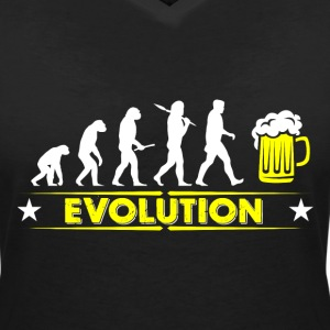 Beer evolution - yellow/white T-Shirts - Women's V-Neck T-Shirt