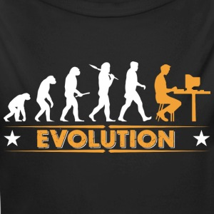 Computer Nerd Evolution - orange/weiss Baby Bodys - Baby Bio-Langarm-Body