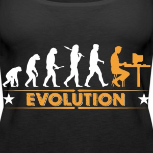 Computer Nerd Evolution - orange/weiss Topper - Premium singlet for kvinner
