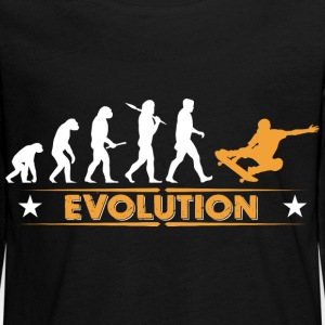 Skateboard Evolution - orange/weiss Langarmshirts - Teenager Premium Langarmshirt