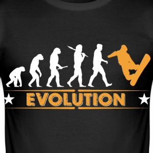 Snowboard Evolution - orange/weiss T-Shirts - Men's Slim Fit T-Shirt