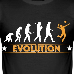 Volleyball Evolution - orange/weiss T-shirts - slim fit T-shirt