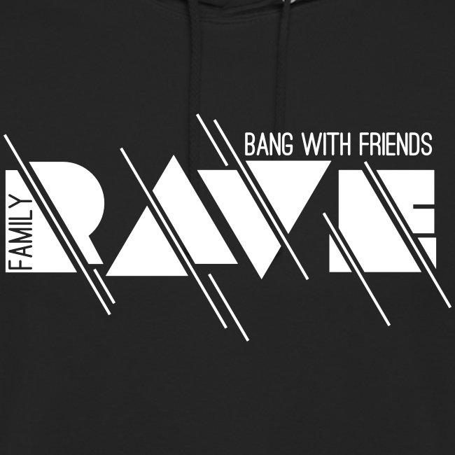 Kapuzenpullover Unisex // RAVE (Logo weiß)