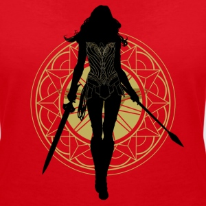 Bros Wonder Woman Weapons Silhouette - Vrouwen T-shirt met V-hals