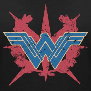 Bros Wonder Woman Distressed Logo - T-skjorte med V-utsnitt for kvinner