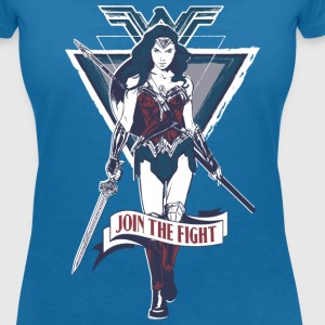 Warner Bros Wonder Woman Spruch Join Fight - Frauen T-Shirt mit V-Ausschnitt