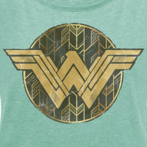 Bros Wonder Woman Faded Vintage Logo - T-skjorte med rulleermer for kvinner