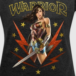 Bros Wonder Woman With Sword Warrior - T-skjorte med rulleermer for kvinner