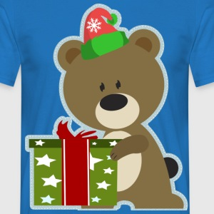 Christmas Teddy with present - Men's T-Shirt