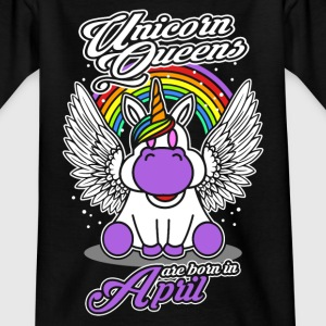 April - Birthday - Unicorn - Queen - EN Camisetas - Camiseta niño