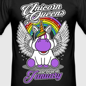 January - Birthday - Unicorn - Queen - EN Camisetas - Camiseta ajustada hombre