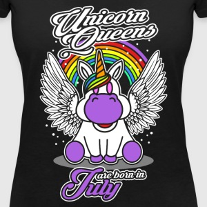 July - Birthday - Unicorn - Queen - EN Camisetas - Camiseta con escote en pico mujer