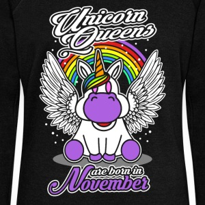 November - Birthday - Unicorn - Queen - EN Felpe - Felpa con scollo a barca da donna, marca Bella