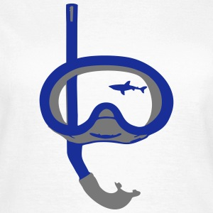 Snorkeling, diving, snorkeling mask and shark Magliette - Maglietta da donna