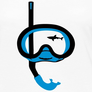 Snorkeling, diving, snorkeling mask and shark Manga larga - Camiseta de manga larga premium mujer