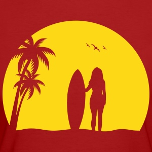 Surfer woman Palm Beach beach Sun surfboard T-Shirts - Women's Organic T-shirt