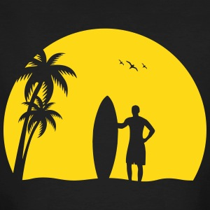 Surfer Sun Palm Beach summer sea sunset T-Shirts - Men's Organic T-shirt