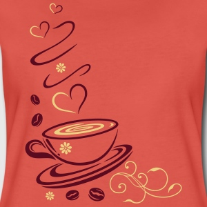 Coffee Cup with coffee beans and hearts. - Women's Premium T-Shirt