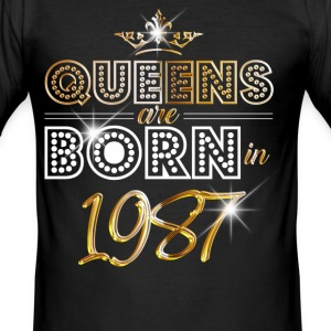 1987 - Birthday - Queen - Gold - EN T-skjorter - Slim Fit T-skjorte for menn