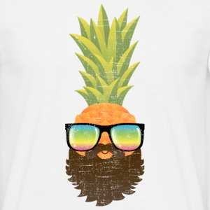 Pineapple Hipster With Beard And Sunglasses T-shirts - Herre-T-shirt