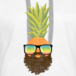 Pineapple Hipster With Beard And Sunglasses Sweatshirts - Dame Premium hættetrøje
