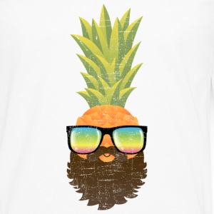 Pineapple Hipster With Beard And Sunglasses Long sleeve shirts - Men's Premium Longsleeve Shirt