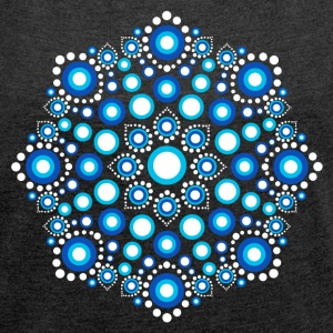 Color Dots, Dot Art, Mandala, Yoga, Meditation T-shirts - Dame T-shirt med rulleærmer