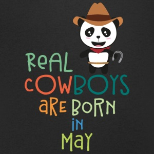 Real Cowboys are born in May Sghtr T-Shirts - Men's V-Neck T-Shirt