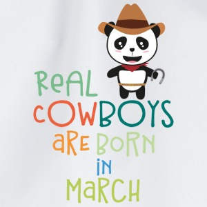 Real Cowboys are born in March Sn2d9 Bags & Backpacks - Drawstring Bag