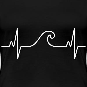 Surf  The Wave | Funny Heartbeat Design Tee shirts - T-shirt Premium Femme