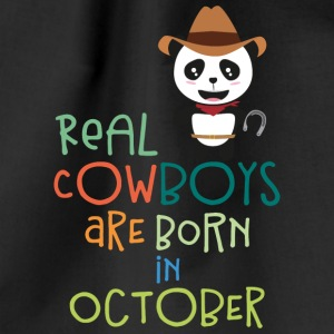 Real Cowboys are born in October Secnx Bags & Backpacks - Drawstring Bag