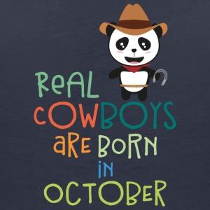 Real Cowboys are born in October Secnx T-Shirts - Women's V-Neck T-Shirt
