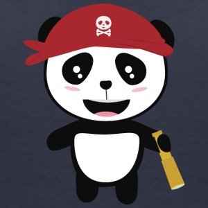 Panda Pirate with spyglass Si5wy T-Shirts - Women's V-Neck T-Shirt