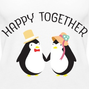 Happy Together | Cute Penguin Couple Toppe - Dame Premium tanktop