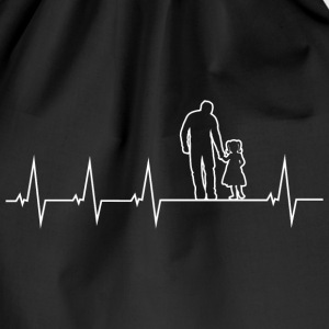 Father and daughter - heartbeat Bags & Backpacks - Drawstring Bag