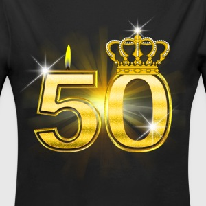 50 - Birthday - Queen - Gold Babybody - Økologisk langermet baby-body