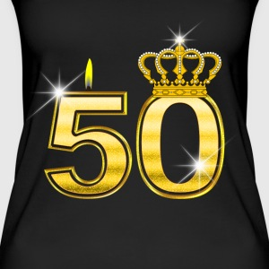 50 - Birthday - Queen - Gold - Flame & Crown Topit - Naisten luomutoppi