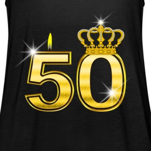 50 - Birthday - Queen - Gold - Flame & Crown Top - Top da donna della marca Bella