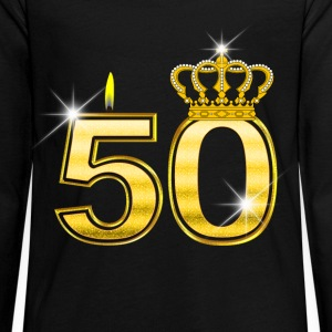 50 - Birthday - Queen - Gold - Flame & Crown Long Sleeve Shirts - Teenagers' Premium Longsleeve Shirt