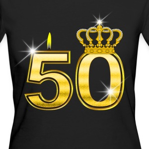50 - Birthday - Queen - Gold - Flame & Crown T-Shirts - Frauen Bio-T-Shirt