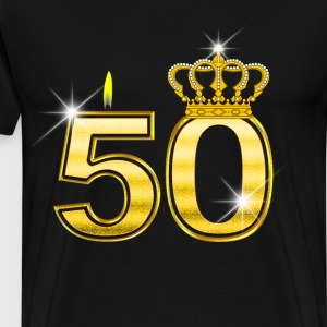 50 - Birthday - Queen - Gold - Flame & Crown Camisetas - Camiseta premium hombre