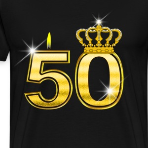 50 - Birthday - Queen - Gold - Flame & Crown T-Shirts - Men's Premium T-Shirt