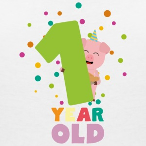 One Year first Birthday Party S80cw T-Shirts - Women's V-Neck T-Shirt