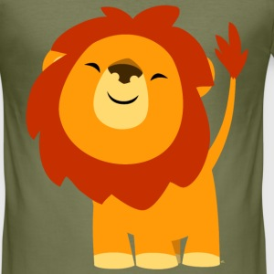 Cute Euphoric Cartoon Lion by Cheerful Madness!! T-Shirts - Men's Slim Fit T-Shirt