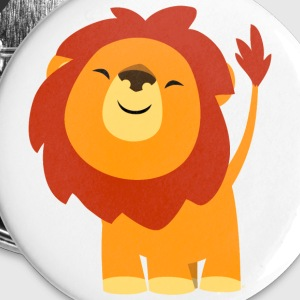 Cute Euphoric Cartoon Lion by Cheerful Madness!! Buttons - Buttons small 25 mm