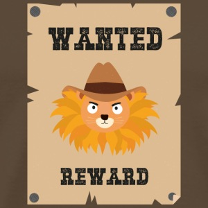 Wanted Wildwest lion poster Sinxg T-shirts - Herre premium T-shirt