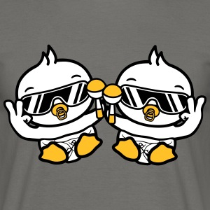 2 friends team couple cool peace hand symbol sungl T-Shirts - Men's T-Shirt